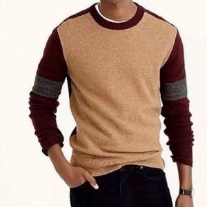 J Crew Lambswool Sweater In Varsity Color Block